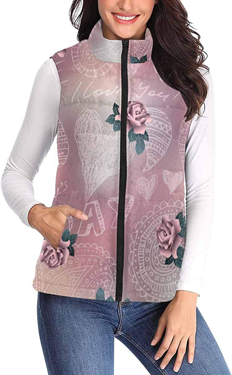 InterestPrint Casual and Fashionable Women Padded Vest with Colorful Prints BValentines Day Pattern on Blur