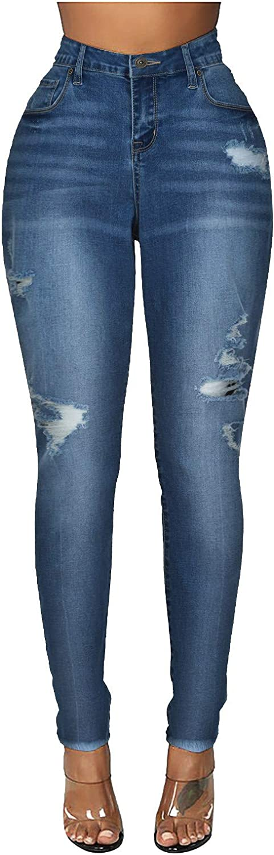 Jeans for Women Ripped,Women's Casual Pocket Hole High Waist Denim Pants Pencil Trousers Calf Length Pants