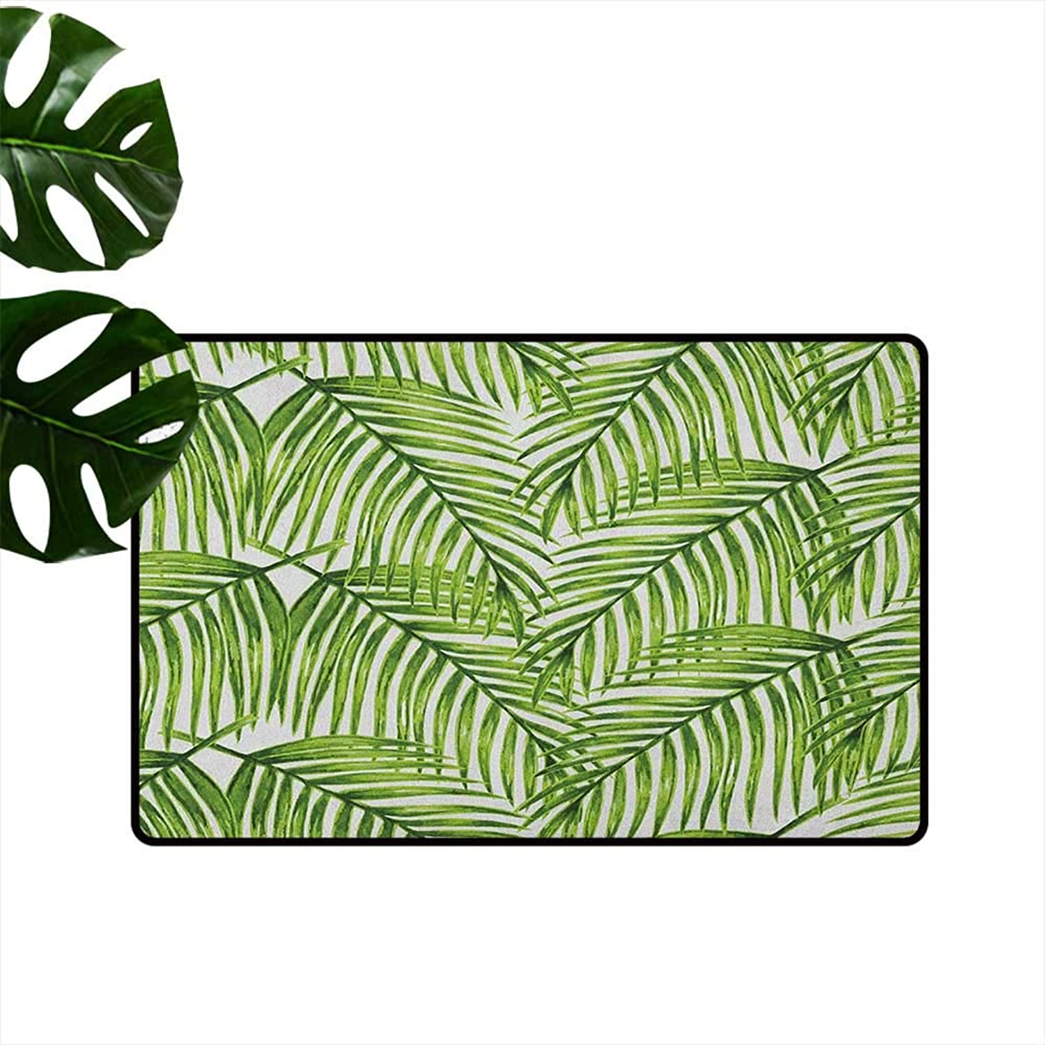 Plant Printed Door mat Fascinating Leaves on Branches Exotic Setting Floral Arrangement Jungle Themed Greens Quick and Easy to Clean W35 x L59 Fern Green