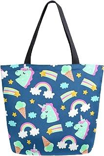 Mnsruu Mnsruu Einkaufstasche aus Segeltuch, wiederverwendbar, Schulter-/Handtasche, dunkelblau, Einhorn, Regenbogen-Eiscreme, Reisetasche, für Damen und Mädchen