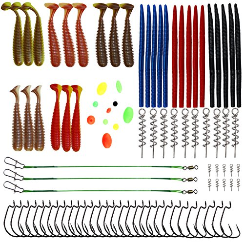 Bass Fishing Lures Kits, Fishing Accessories Kits Include Soft Worm...