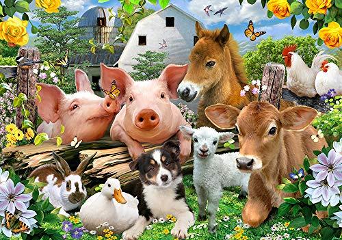 VLIES Fototapete-SELFIES BAUERNHOF-208x146cm-2 Bahnen-(12878VEXL)-Inkl. Kleister-EASYINSTALL-PREMIUM-Hunde Katzen Kinder Tiere Kids Animals Fohlen Pferd Schwein Lamb Kuh Kalb Huhn Ente Kaninchen