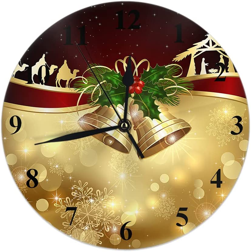 Wondertify Golden Christmas Bells Wall Berry Shiny Holly Clock S Minneapolis Max 59% OFF Mall