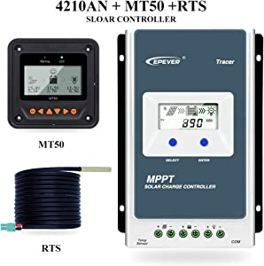 EPEVER MPPT Solar Charge Controller Tracer Series 10A 20A 30A 40A with 12V 24V Automatically Identifying System Voltage 40A MT50