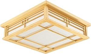 MMYNL Plafoniera Ciondolo lampada per la camera da letto giapponese di luce a solido led lampada di Wood lampada Lampada stile Soggiorno Camera da letto balcone luce di Wood luce calda 45CM