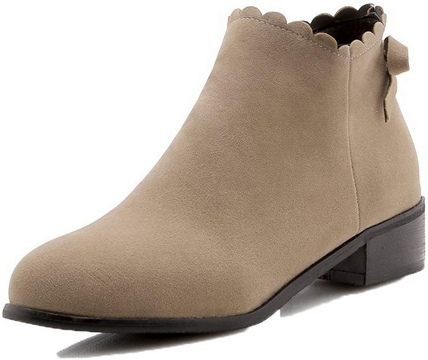 AllhqFashion Women's Ankle-High Zipper Frosted Low-Heels Round-Toe Boots, FBUXD119491