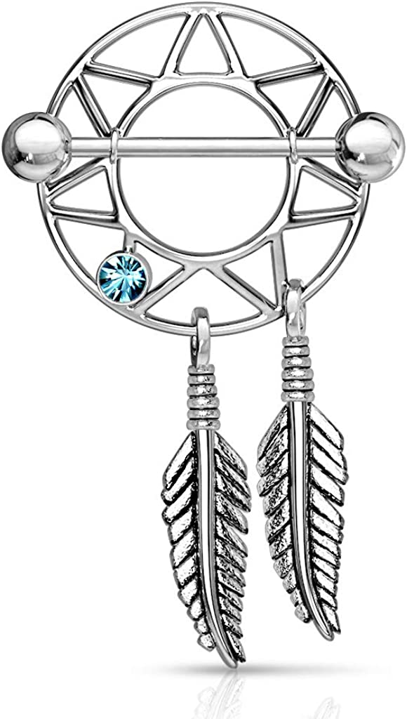 Covet Jewelry Dream Catcher Nipple Shield with Gem 316L Surgical Steel