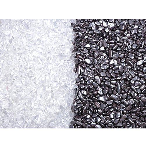 Premium Ladesteine Bergkristall und Entladesteine Hämatit Mini Trommelsteine 400 gramm (je 200gr) Chips 6-9 mm