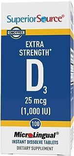 Superior Source Vitamin D3 1000 IU, Under The Tongue Quick Dissolve Sublingual Tablets, 100 Count, Promotes Strong Bones, ...