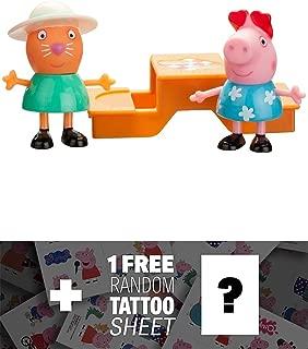 Peppa Pig Picnic Time (Peppa, Candy) 2-Mini-Figure Pack + 1 Free Official Mini-Tattoo Sheet Bundle [926290]