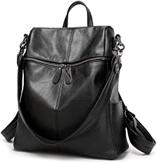 Leather Backpack for Women, Water-resistant PU Faux Leather Large Capacity Ladies Girls Convertible Rucksack Shoulder Bag