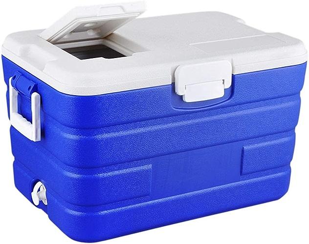 40L Petit Réfrigérateur Congélateur Cooler Cool Box Pour Conserver Le Froid Avec Fermeture Hermétique, Portable Rigide Glacière Frigo Pour Voiture Camping Caravanes Pique-niques, 57x37.5x34cm, Bleu