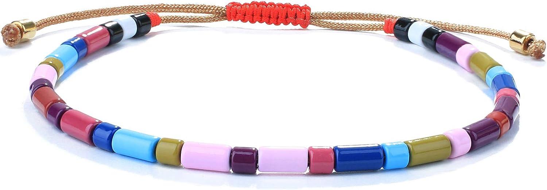 KELITCH Colorful Stretch Bracelets Multi Color Beaded Bracelets Enamel Bangle Bracelets for Women Fashion Jewlery