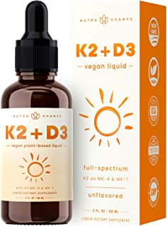 Vitamin K2 D3 Supplement Drops - Healthy Bones, Heart, Mood & Immune System - Vegan D3 5000 IU & K2 MK7 & MK4 100 mcg - 2 ...