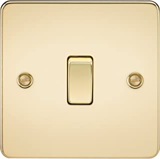 Knightsbridge FPAV2000PB Flat Plate 10A 1G 2 Way Switch-Polished Brass, Poilshed
