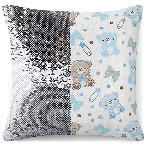 Sequin Throw Pillow Cover, Reversible Mermaid Pillow Cover,Bear Decorative Cushion Pillow Cases for Chair Couch Bed Sofa