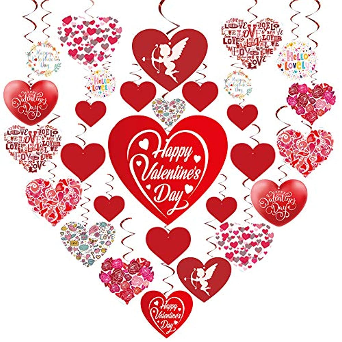 GOER Valentine's Day Party Decorations,30 Pcs Hanging Swirls with 1000 Pcs/0.35 oz Heart Confetti Valentine's Day Party Supplies