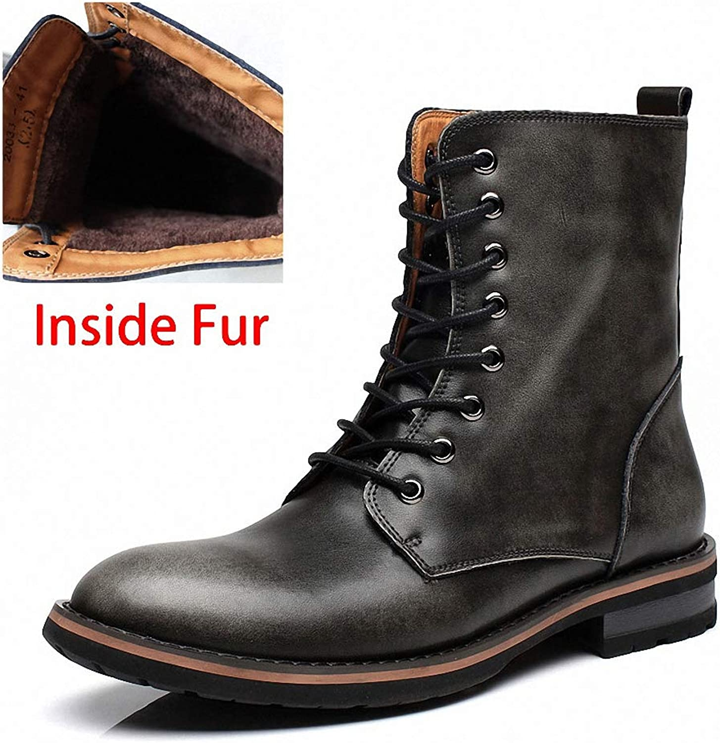 Mens Backpacking Boots Men Motorcycle Boots Vintage Combat Boot Winter Fur New Cow Split Leather Waterproof Buckle Military Boots Men shoes