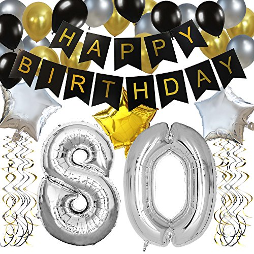 KUNGYO Classy 80TH Birthday Party Decorations Kit-Black Happy Brithday Banner,Silver 80 Mylar Foil Balloon, Star, Latex Balloon,Hanging Swirls, Perfect Eighty Years Old Party Supplies