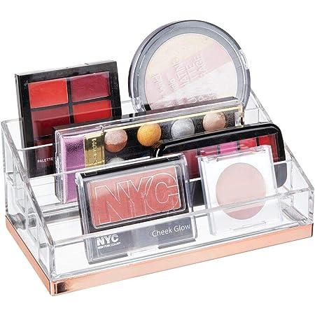 mDesign organisateur maquillage pratique – rangement maquillage décoratif pour vernis et poudre – range maquillage avec 4 compartiments – couleur transparent et or rose