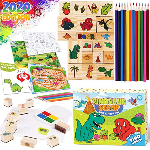 Dinonano Rubber Stamps Kids Art Set - Dinosaur Wooden Stamp Set with Pads Stickers Washable Ink Stationary Arts and Craft Drawing Coloring Activity Kit for Toddler Age 3 4 5 6 7 8 Years Old