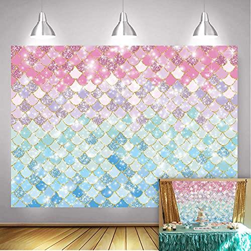 Escamas de sirena,diseño de sirena,color morado,rosa,azul,dorado,con purpurina,fondo de fotografía,fondo de princesa,niña,recién nacido,fiesta de cumpleaños,decoración de mesa 150cm x 90cm