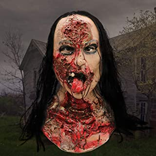 Halloween Mask, Wig Female Ghost Mask Bloody Broken Face Mask, for Costumes Party Novelties Masquerade Halloween Props Cosplay-A