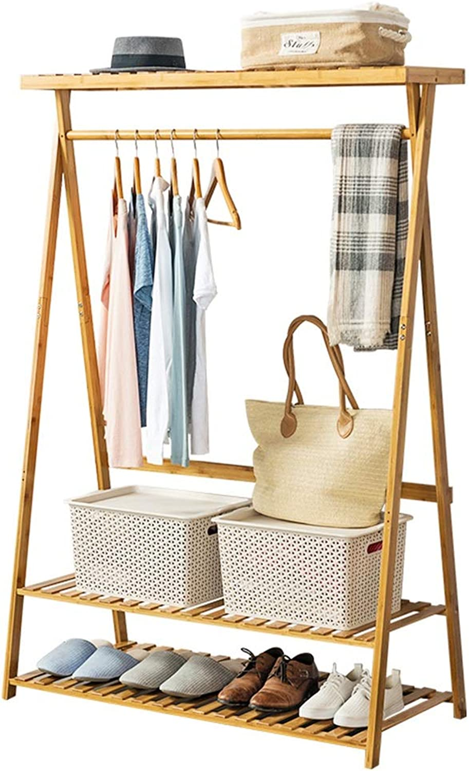 TH 2 Layer Bamboo Coat Racks, Multi-Purpose Clothes Coat Stand, Bedroom Living Room Storage Rack shoes Rack - Log color (Size   90CM)