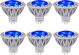 Blue MR16 LED Light Bulbs with GU5.3 Base 50W Equivalent Halogen Replacement 5W 12V Bi-pin Spotlight 38 Deg Landscape Pool Step Lighting-6 Packs