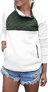 AlvaQ Women Stand Collar Buttons Fleece Pullover Sweatshirt Pockets(6 Colors S-XXL)