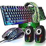 kabelgebundene Gaming-Tastatur mit Regenbogen-Hintergrundbeleuchtung, USB-Tastatur+2400 DPI optische Regenbogen-LED-Gaming-Maus+Gaming-Headset+RGB-Lautsprecher+Mauspads für Computer/PC (schwarz)