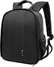 Followsun Compact Camera Backpack Waterproof Shockproof Photography Bag for Nikon Canon SLR DSLR  Mirrorless Cameras and Lenses  Flash Light and Other Accessories-34cm 26 5cm 12 5cm Gray Interior