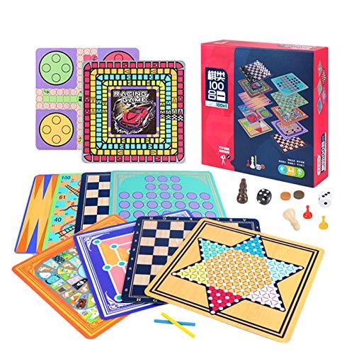 JXAA Chinesische Holzprüfer, Sechseckige Steine, Eltern-Kind-Puzzle-Brettspiele, Schach, Interaktives Schachspielzeug, Kinderprüfer-Brettspiel