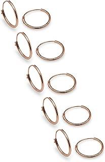 5 Pairs 925 Sterling Silver Small Endless 10mm Thin Round Hoop Cartilage Helix Lobes Huggie Sleeper Earrings - Nine2Five