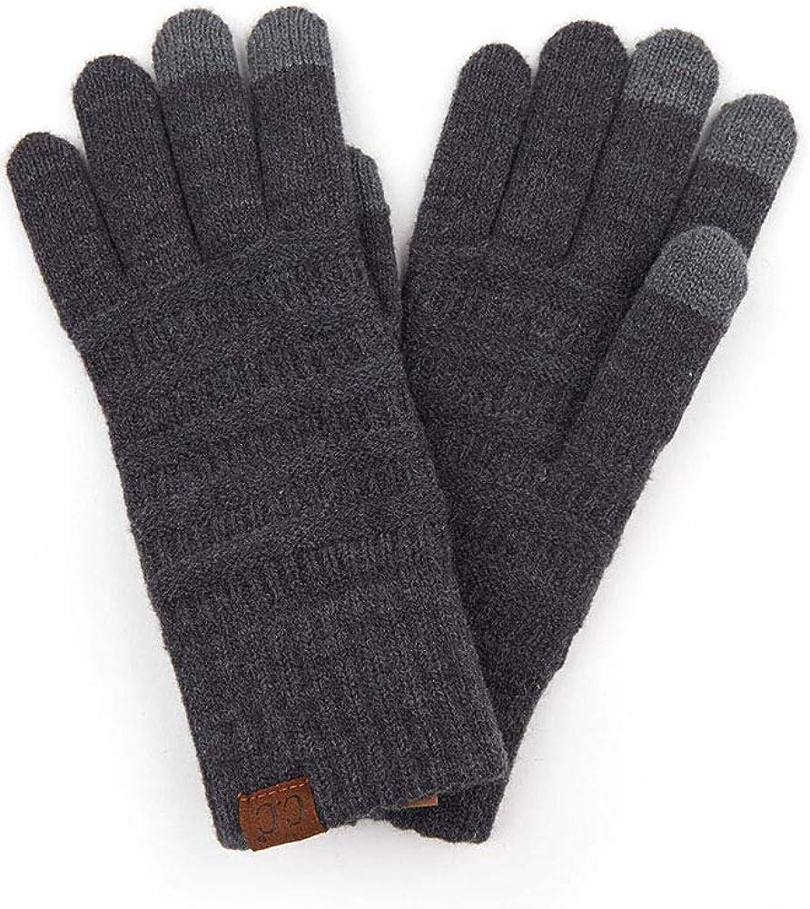 ScarvesMe Women's Fleece Lined Knit Winter Warm Solid Color Soft Gloves