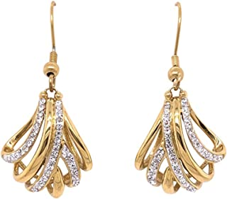 Bevilles Yellow Stainless Steel Crystal Crossover Drop Earrings