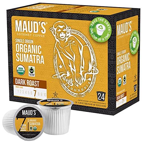 Maud's Organic Sumatra Coffee (Organic Dark Roast Coffee), 24ct. Solar Energy Produced Recyclable Single Serve Fair Trade Single Origin Sumatra Coffee Pods - 100% Arabica Coffee, KCup Compatible