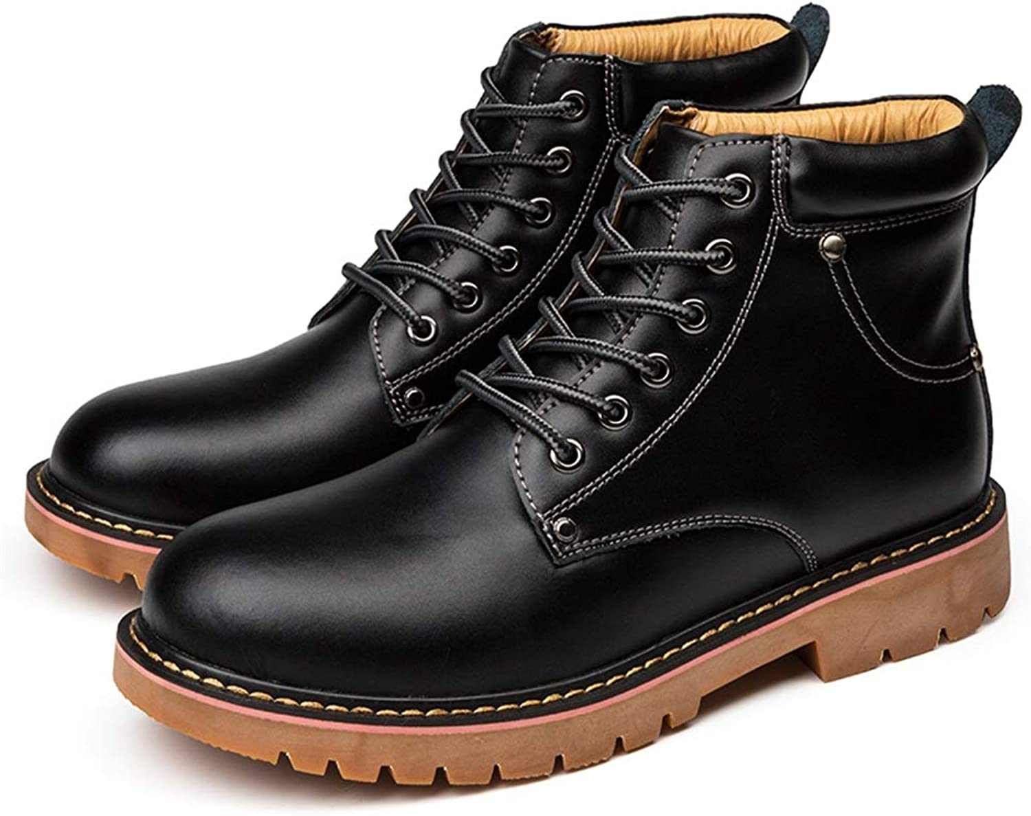 Shufang-shoes , Men's PU Leather High-top Outdoor Outsole Leisure boots Fashion Boots Casual (color   Black, Size   8.5 UK)