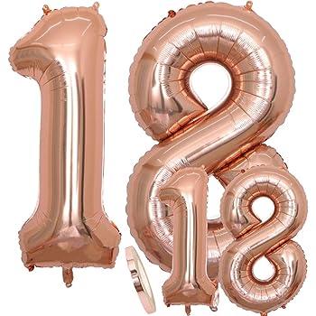 """Luftballons Zahl 18 Geburtstag XXL Rose Gold - Riesen Folienballon in 2 Größen 40"""" & 16""""   Set XXL 100cm + Mini 40cm Version Geburtstagsdeko   Insgesamt Vier Zahlen   Ideal zum 18. als Deko"""