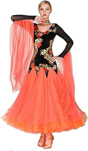 FADA Robe de Danse Moderne, Robe de Danse Big Halter à Manches Longues et col en V, Robe de soirée Waltz Tango Ballroom (Couleur   Orange, Taille   M)
