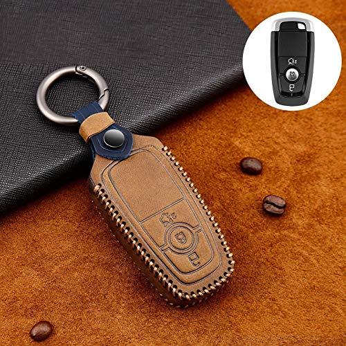 PLUIEX Protector de Llave de Coche Funda de Cuero para Llave de Coche para Ford Fiesta Focus 23 MK2 MK3 Mondeo MK4 Ecosport Kuga Escape Explorer Ranger Ring, marrón