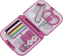 Pink ABS Plastic Portable Compact Design Travel Sewing Kits Box Needle Threads Scissor Thimble Home Tools 7x6.5x2cm - Pink