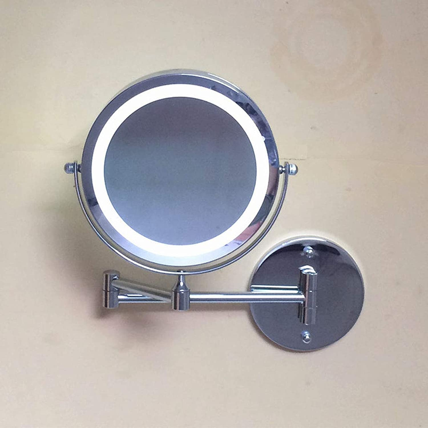 Makeup Mirror Bathroom Double-Sided Wall Mirror with Light Fold Telescopic Dressing Mirror Bathroom Mirror Hotel Bathroom redating Mirror,A