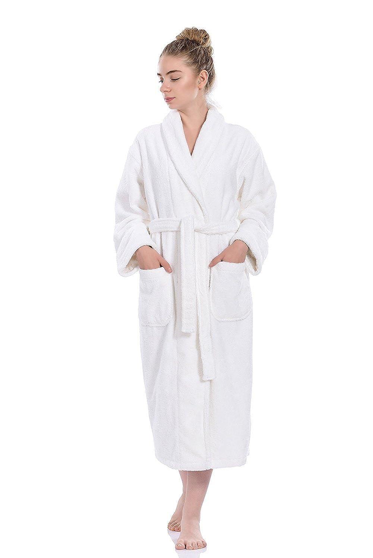 (XS/S, White) - Hiera Home Terry Soft Bathrobe 100% Turkish Cotton Bathrobe (XS/S, White)