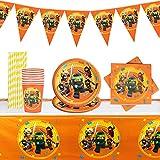 Yisscen Partygeschirr Geburtstag, Ninjago Kindergeburtstag Tischdeko, Teller Becher Servietten Trinkhalme Tischdecke Wimpel, Naruto Kindergeburtstag Partei...