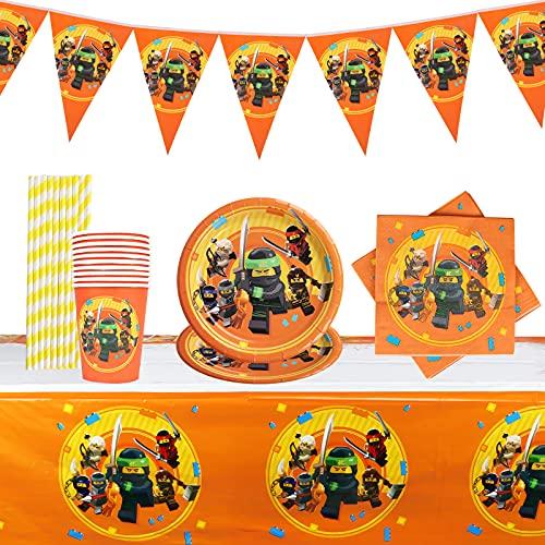 Yisscen Partygeschirr Geburtstag, Ninjago Kindergeburtstag Tischdeko, Teller Becher Servietten Trinkhalme Tischdecke Wimpel, Naruto Kindergeburtstag Partei Dekoration Set (52 Stück)