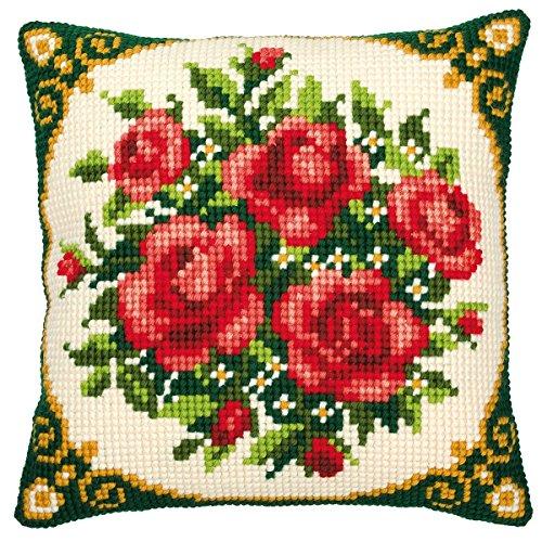 Vervaco Color de Rosas Rojas cojín de Punto de Cruz, Multi-Color