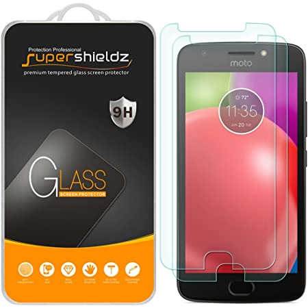 (2 Pack) Supershieldz for Motorola (Moto E4) and Moto E (4th Generation) Tempered Glass Screen Protector, 0.33mm, Anti Scratch, Bubble Free