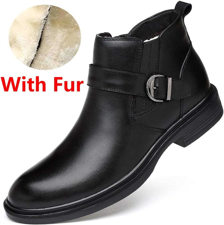 Goodtimehow Autumn Winter Warm Fur Ankle Chelsea stövlar stövlar stövlar män skor Man Business Casual Genuine läder Boot  märkeuttag