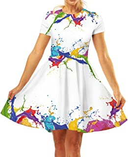 Women's 3D Print Short Sleeve Unique Casual Flared Midi Dress